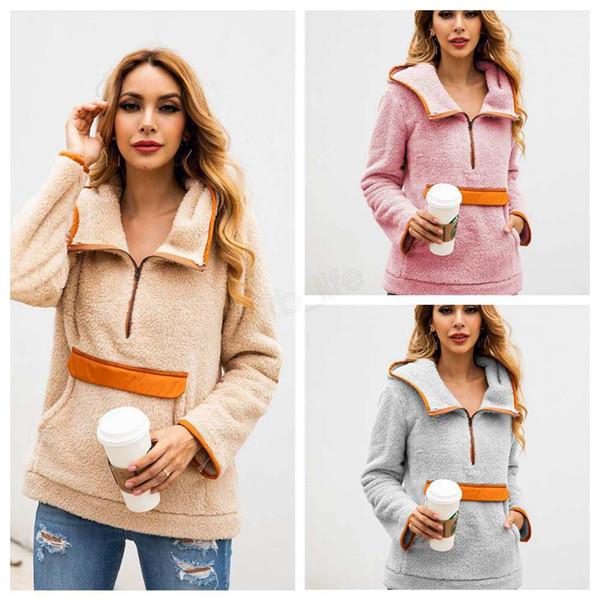 Women Patchwork Pullover Long Sleeve Zipper Sherpa Sweatshirt Soft Fleece Hooded Outwear with Pockets Tops Hoodie coat KK02