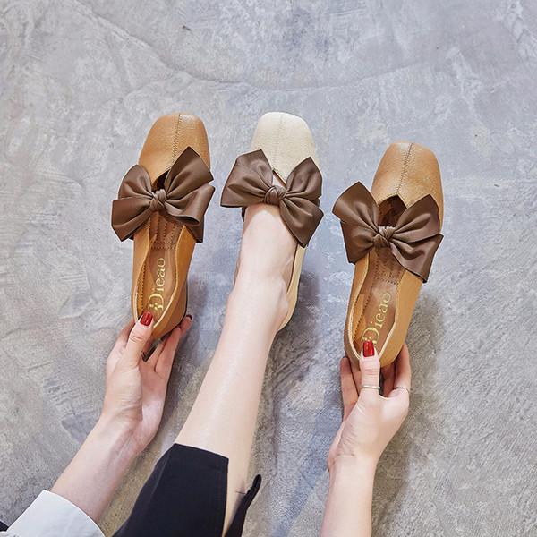 2019 Primavera Novas Sapatas Das Mulheres Arco Casual Confortável Avó Sapatos Boca Rasa Plana Cabeça Quadrada Único Sapatos Femininos