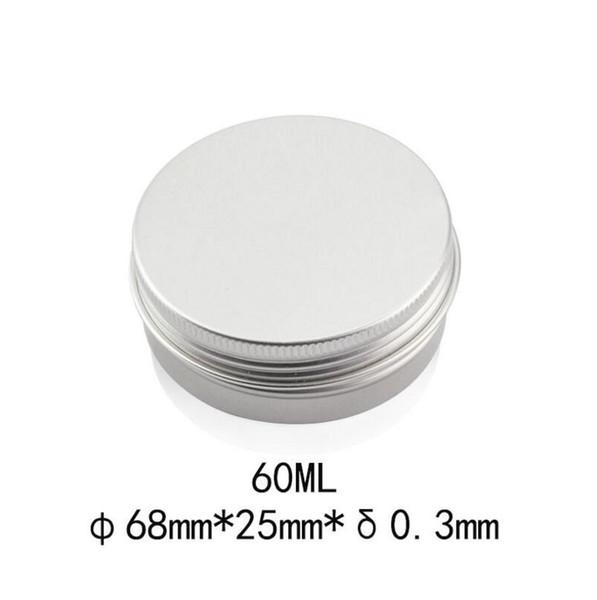 60g Empty metal aluminum jar for cream powder gel, 2 oz cosmetic bottles, 60ml aluminum container
