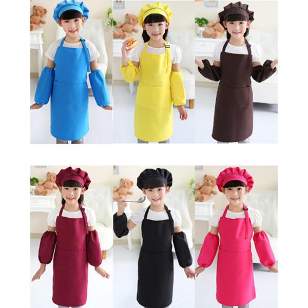 Enfants Tabliers Artisanat poche cuisine cuisson Art Peinture enfants Cuisine Salle à manger Bavette Tabliers enfants avec chapeau et manches enfants Tabliers Set RRA2083
