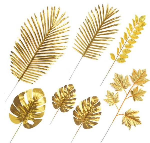 Yapay Altın Tropikal Palmiye Yaprakları Simülasyon Hawaii Bitki Tema Parti Düğün Süslemeleri DIY Fotoğraf Sahne için Çok Bitki ...