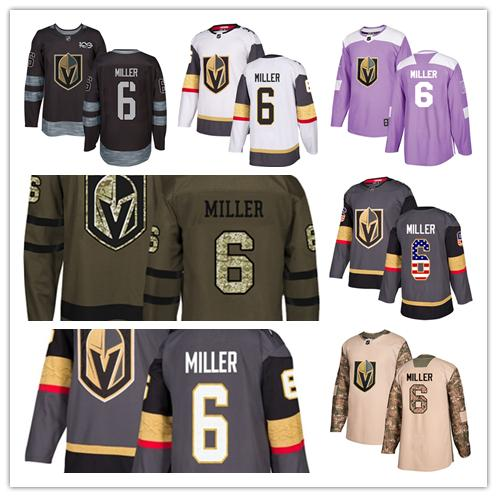Vegas Golden Knights jerseys #6 Colin Miller jersey ice hockey men women gray white black Authentic winter classic Stiched gears Jersey