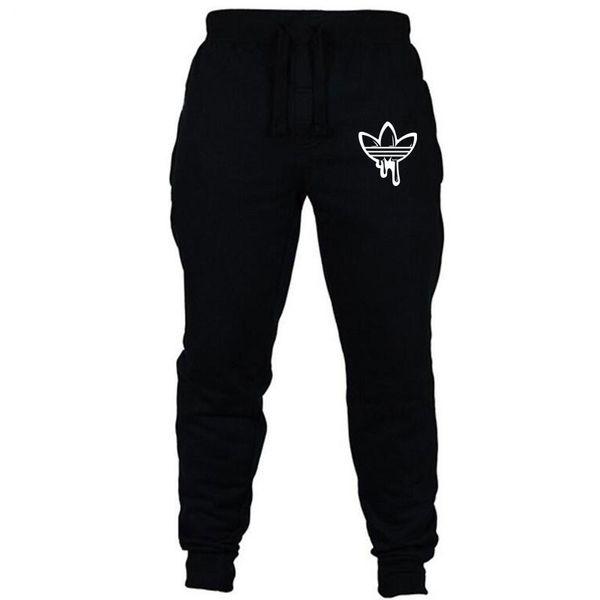 Erkekler Siyah Doodle Baskı Pantolon Jogging Yapan Erkekler Pantolon Rahat Slim Fit Erkekler Spor Sweatpants Büyük Boy