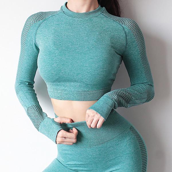 Senza soluzione di continuità Yoga Crop maniche lunghe Hollow Sports Yoga Camicia Pollice Hole esecuzione di allenamento fitness Tops Abbigliamento sportivo per le donne di ginnastica