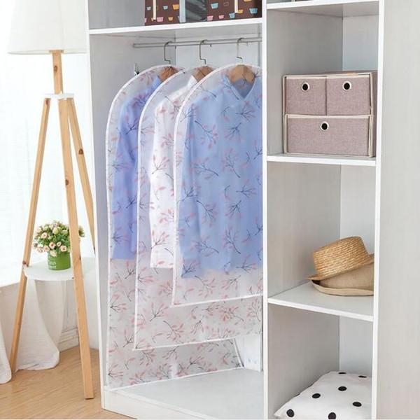 clothing wardrobe storage bags transparent waterproof dust cover hanging wardrobe storage bags zipper clothes organizer closet organizer