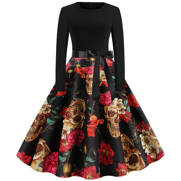 Womens clothing ladies fitted slim Halloween flower skull print plus big size dress Formal Prom Cocktail Ball Gown Evening Party Dress 6912