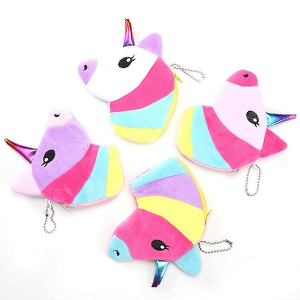 Mais recente projeto senhoras unicórnio carteira de pelúcia criativo zíper carteira multicolour crianças moeda sacos de uso saco pingente