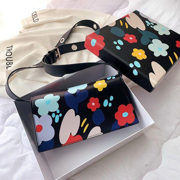 2019 Nuova borsa a tracolla trapezoidale stampa sacchetto del fiore a banda larga delle donne della moda coreana Messenger buste rosse netti