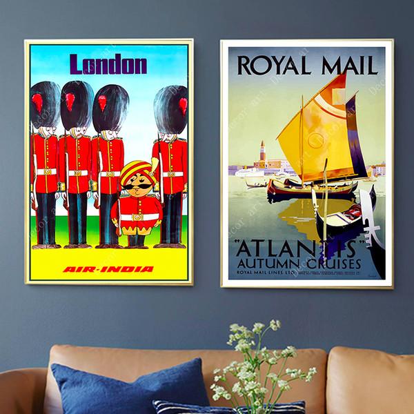 Royal Mail Londres Inglaterra Curso Pintura Da Lona Parede Kraft Cartazes Revestidos Adesivos de Parede Do Vintage Casa Decorativa Imagens Presente