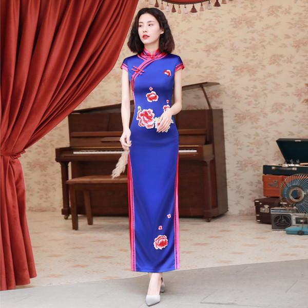 Bordado azul Floral Elegante Estágio Show Handmade Botão Silm Qipao Chinês Tradicional Mulheres Vestido Vintage Lady Sexy Cheongsam