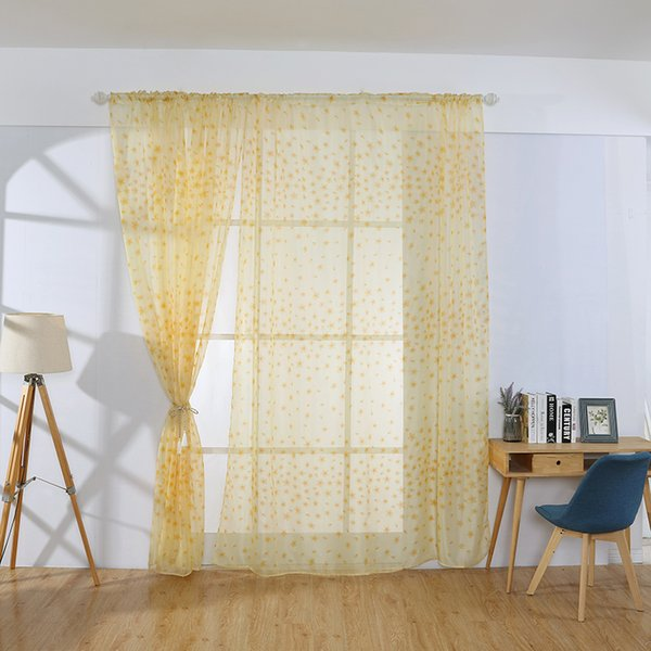 Luxury Embroidered Sheer Voile Curtains Modern Embroidered Tulle Drapes Sheer Curtains Window Drapes For Living Room