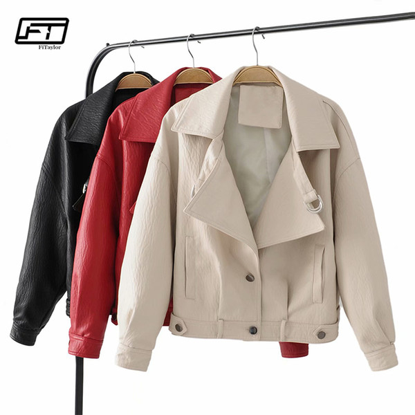fitaylor autumn winter women pu leather jacket casual faux leather jackets basic motorcycle outwear black red biker coat - from $39.23