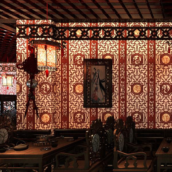Çin klasik duvar kağıdı taklit ahşap oyma pencere camı duvar kağıdı oturma odası çalışma koridor TV arka plan duvar kaplaması