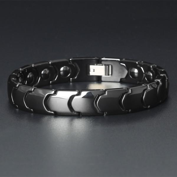 TrustyLan Здоровый Магнитный браслет Мужчины Блестящая и гладкая Черный / Белый керамический Мужская Дружба Браслеты Баланс Мужские Armband