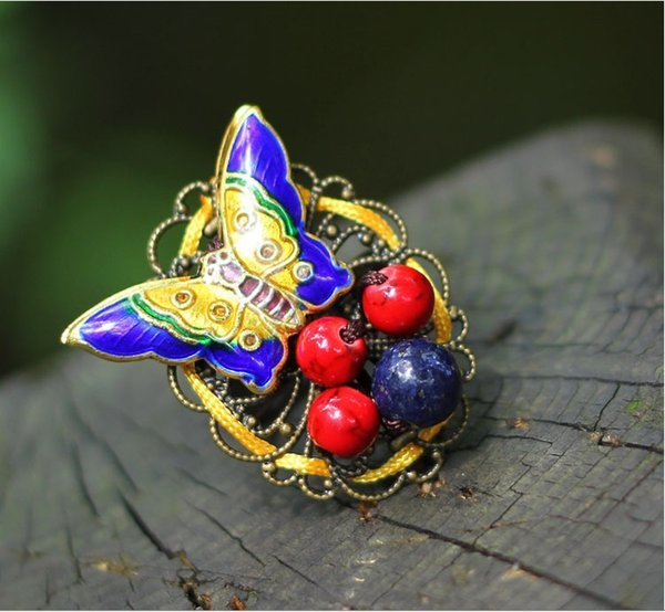 Bague réglable originale en rimes anciennes cloisonné avec bijoux