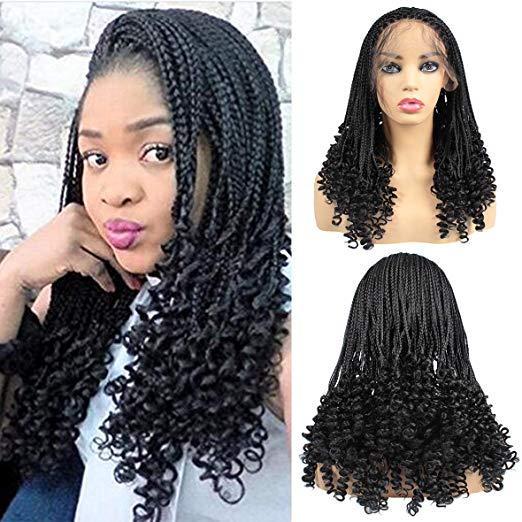 20inch натуральные черные микро-плетение волос парики с вьющимся концом синтетический парик фронта шнурка с волосами младенца половину плетеные парики для чернокожих женщин