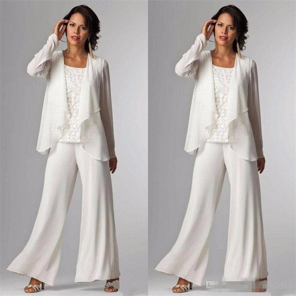 2018 Elegant Evening Mother of The Bride Dresses Ankle Length Long Sleeve Jackets Lace Pant Suits for Women Mother Groom Plus Size Gowns