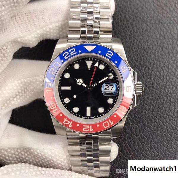 DJ горячий продавать роскошные мужские часы красный и синий керамическое кольцо 40 мм календарь 2836 автоматический механический мужской стол