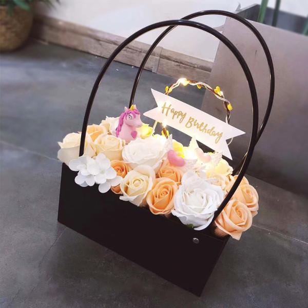 PVC flowers carry bag rectangular Kraft Paper Bags Flower Box with Handle Waterproof Bouquet Florist Rose Party Decoration Boxes