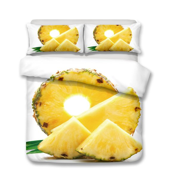 3D Bedding Set Pineapple Print king size Duvet cover set lifelike bedclothes with pillowcase bed home Textiles Cartoon 3Pcs
