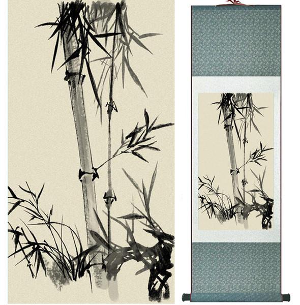 Pintura de bambú Chiense caracteres y flores pintura Home Office decoración pintura en rollo chino 041212
