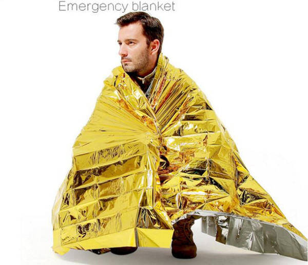 Outdoor Water Proof Emergency Survival Rescue Blanket Foil Thermal Space First Aid Sliver Rescue Curtain Military Blanket 2019
