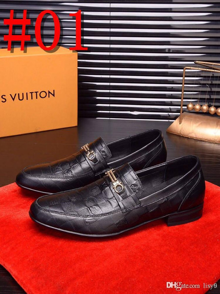 2020 Fashion Men Office brand Luxury design shoes Mocassin Metal Button design shoes zapatos dolce Cowhide grey Size US6.5-11 CONNOR