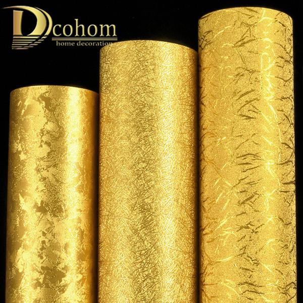 Luxe Metallic Gold Fond d'écran Rouleau Illuminé Reflect Revêtement mural Étincelle feuille d'or PVC Wall Paper Home Décor Lavable
