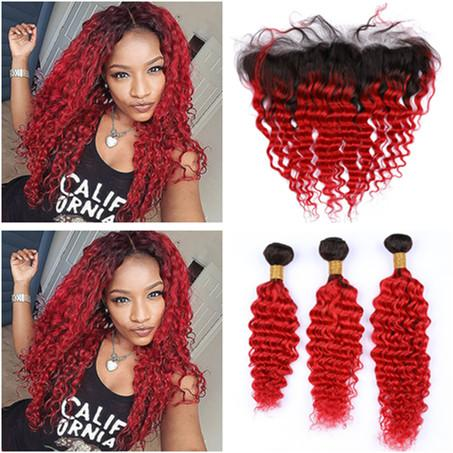 #1B/Red Ombre Deep Wave Peruvian Virgin Hair 3Bundles with Frontal Bright Red Ombre Deep Human Hair 13x4 Lace Frontal Closure with Weaves