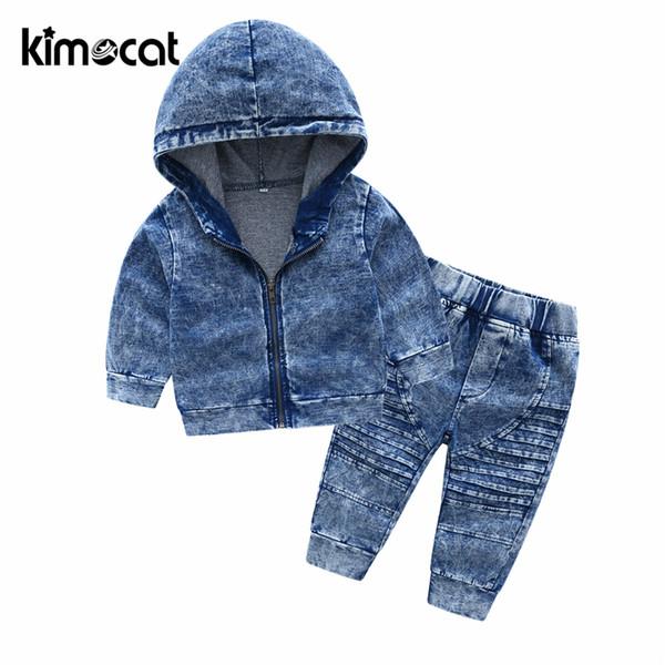 Kimocat nuovo arrivo autunno e primavera manica lunga per bambini con cappuccio in maglia vestito del ragazzo Set di abbigliamento per ragazzo Toddler Set di tute J190513