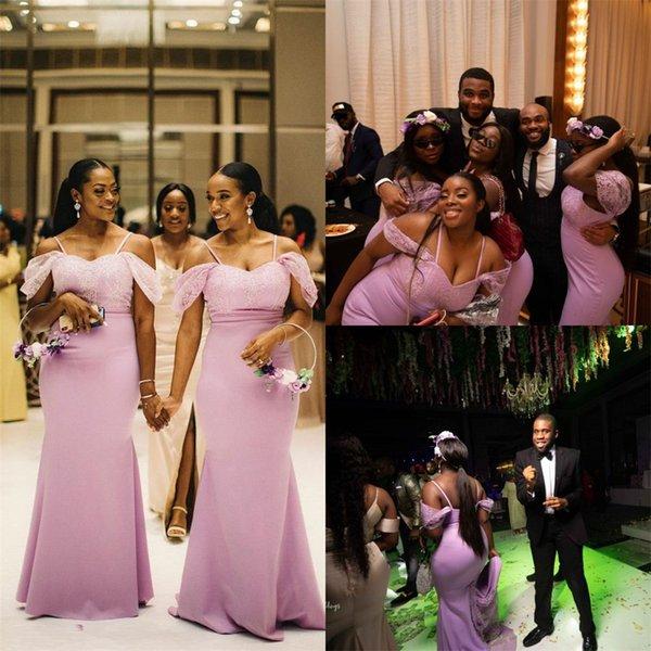 2019 Sexy Black Girl sirène demoiselle d'honneur robes pas cher africaine hors épaule robe de mariée robe de mariée longue spaghetti robe de soirée de bal