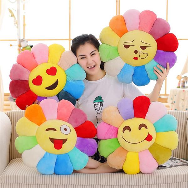 Sun Flower Emoji Yastık Peluş Oyuncak Yastık Karikatür Sun Flower Peluş Oyuncak 12CM Gülümseme Çiçek Çeşit İfade Doll Koltuk Araba Ev Dekorasyon