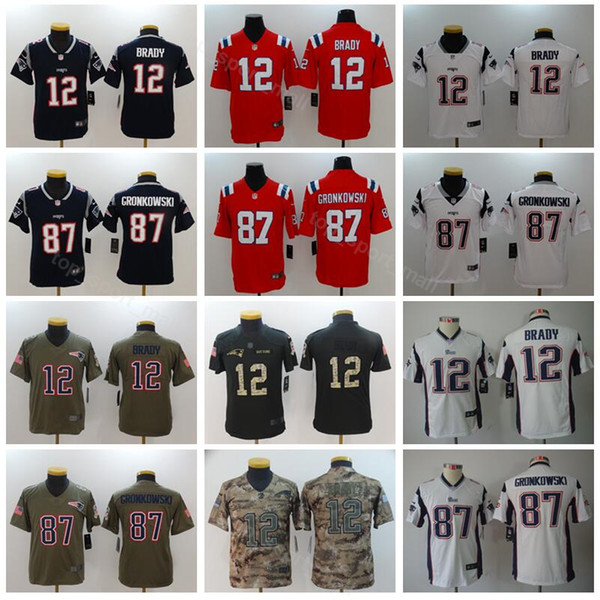 outlet store c7668 a9b34 2019 Youth Patriots Jerseys 12 Tom Brady 87 Rob Gronkowski Kids Football  Jersey Children Navy Blue White Red Top Quality Camo Army Limited From ...