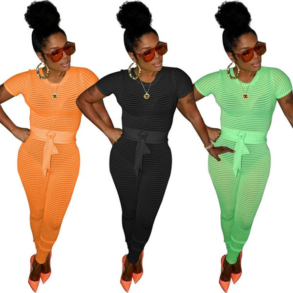Women Designer short sleeve Jumpsuits Summer Bodycon sexy Rompers One-Piece Trendy Night Club Overalls Bodysuit with sashes 886