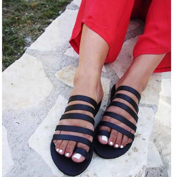 Güzel Yaz Kadın Terlik Açık Sahil Casual Ayakkabı Bayanlar Düz Topuk Kayış Terlik Roman Ayakkabı Kadın Kapak Casual Flops