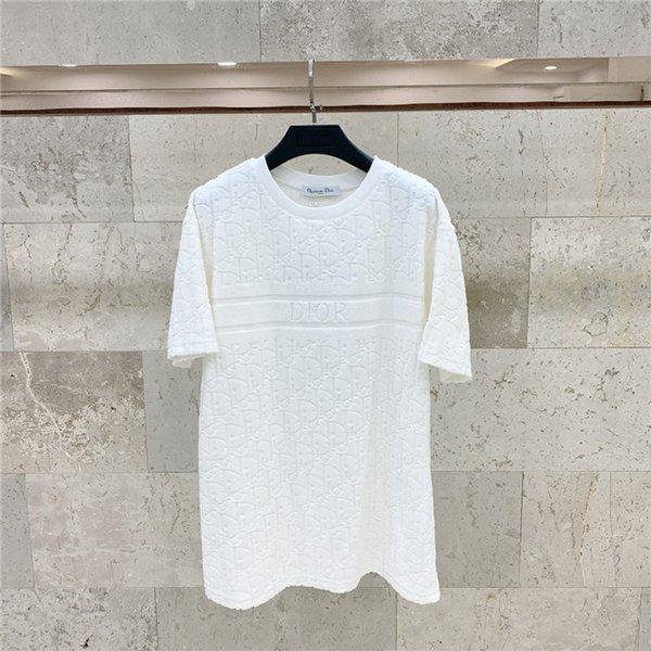 20ss Nuevo tejido letras lujosas marcas de diseño D toalla de la camiseta blanca de algodón camisa de los hombres de las mujeres Streetwear la camiseta al aire libre camisetas