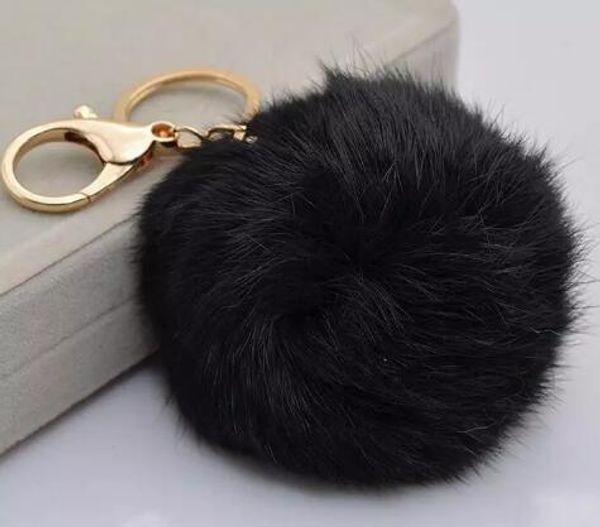 Echte Kaninchenfellkugel Keychain weiche Pelzkugel reizendes Goldmetallschlüsselketten Kugel Pom Poms Plüsch Keychain Autoschlüsselring Beutel Ohrringe Freies Verschiffen