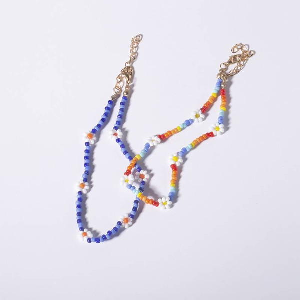 Rice Bead String Bead Small Daisy Anklet Female Individual Character Ethical Wind Contracted Hand Braids Chromatic Bead Foot Bare