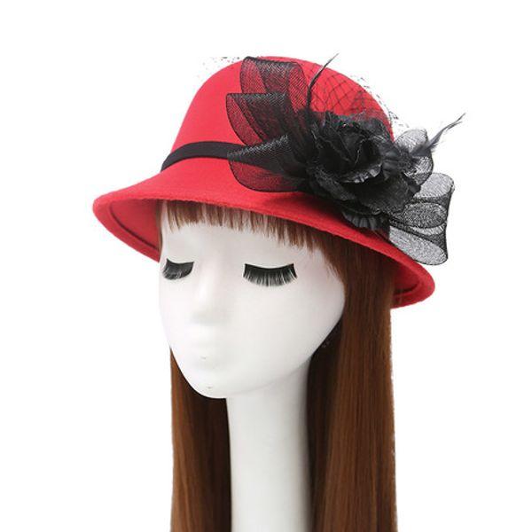 Autumn and winter aristocratic gown gauze feather flower hat Mature lady hat ladies warm earmuff woolen basin cap