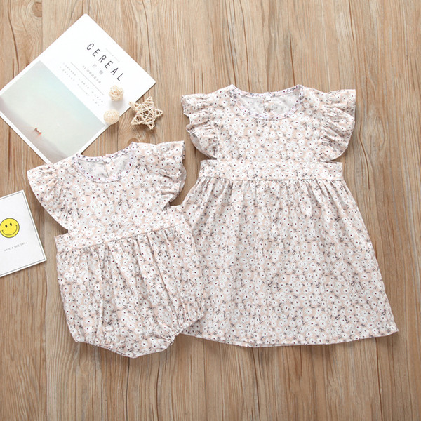 2019 Summer Children Clothing Sister Matching Clothes Baby Girl Floral Romper Dress Outfit Infant Kids Casual Clothes Toddler Girl Clothes