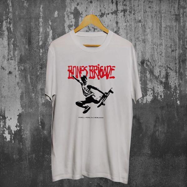 Powell Peralta Bones Brigade Tour '87 camiseta blanca S-2XL Nueva camiseta divertida 100% algodón Camiseta de manga corta y talla grande