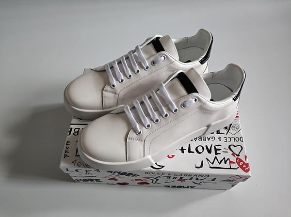 Zapatos de diseñador de moda para hombre mujer cuero portofino zapatillas terciopelo parche suela de goma italia zapatos de vestir casuales zapatilla de deporte blanca