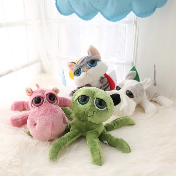 Big eyes stuffed animals toy green octopus Simulation Cat dog hippo baby appease plush toy bedroom decor for Children unique
