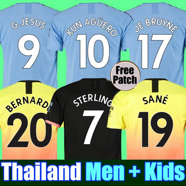 Top de la Thaïlande de qualité 19 20 maillot de foot MANCHESTER CITY G.JESUS DE BRUYNE KUN AGUERO maillots 2019 2020 SANE maillot KIT de football ensembles pour adultes et enfants