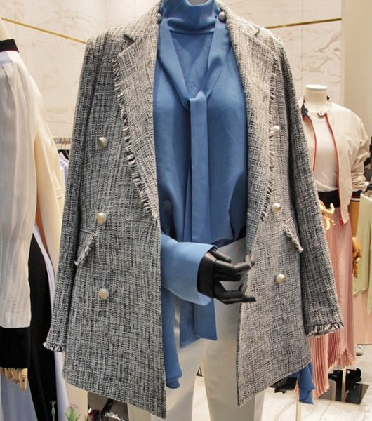 Clearance ! Women's Spring and Autumn Long Sleeve Suit Blazer Coats Female Casual Double Breasted Jacket Outwear