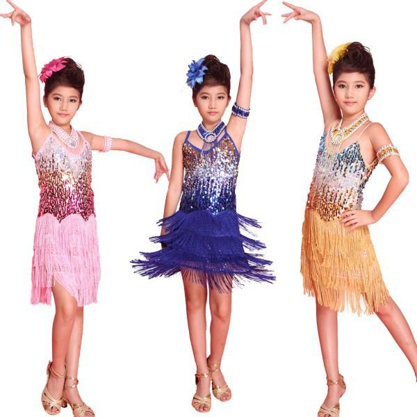 Yeni çocuklar Püsküllü Balo Latin Salsa Giyim Fringe Etekler Kızlar Parti Dans Kostüm Giydirme 6-12Y