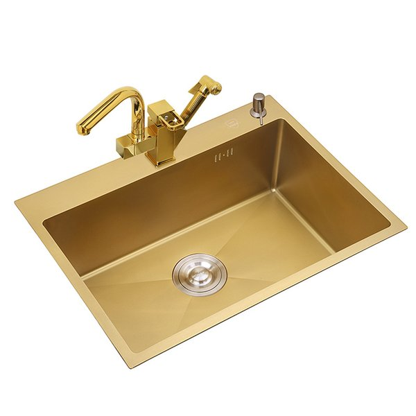 top popular 3mm Thickness Stainless Steel Gold Kitchen Sinks One Bowl Above Counter Nano-coating Sinks Vegetable Washing Basin with Tap 2021