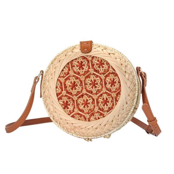 Rattan Made Hand-braided Messenger Bag Natural Fashion Beach Round Rattan Straw Braided Bags For Women Brand New