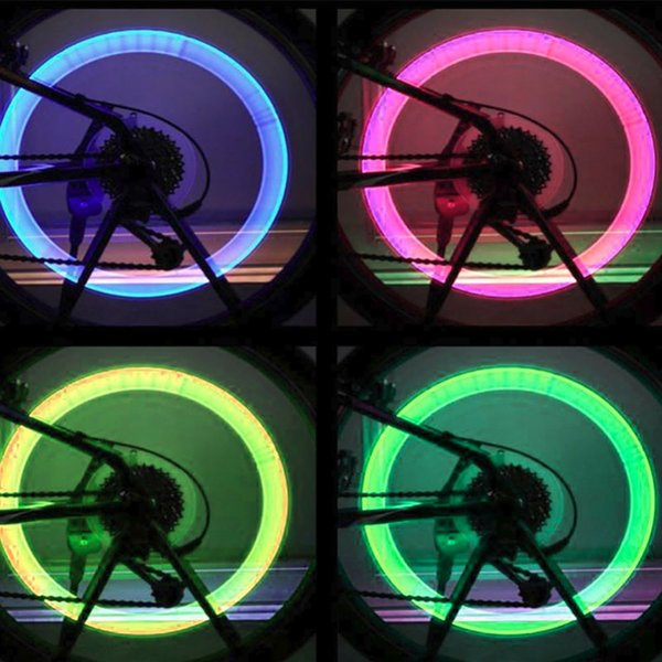 Motorcycle Cycling Bicycle Bike Wheel Signal Tire Spoke Light LED Changes 4 Color Bicycle Spoke Light free shipping #275674