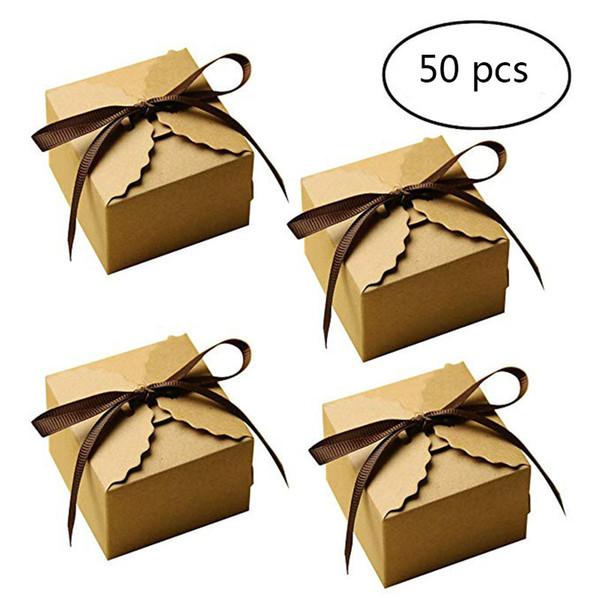 50 unids Retro Vintage Mini Caja de Dulces de Papel Kraft DIY Fiesta de Cumpleaños Favor de Boda Caja de Regalo Pequeña Caja de Pastel Embalaje Con Cintas